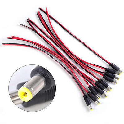 10pcs 5.5*2.1mm CCTV DC Power Male PSU Pigtail Cable Plug Wire Connector 12V