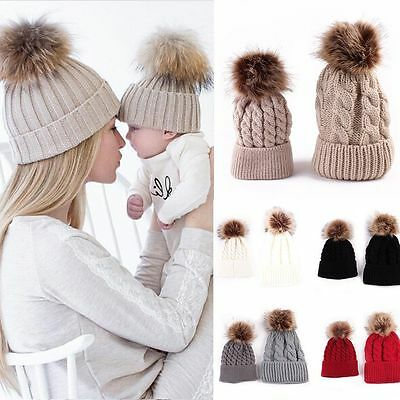 2PCS Winter Warm Mom Newborn Baby Boy Girl Hats Crochet Knit Hairball Beanie Cap