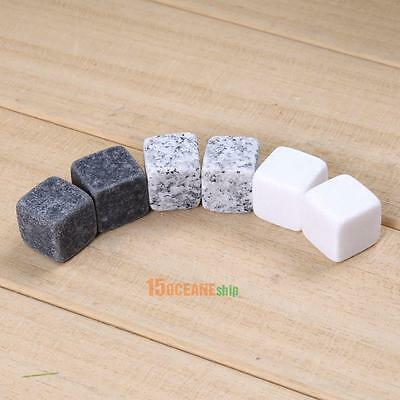 6pcs Natural Whiskey Stones Sipping Ice Cube Whisky Stone For Cool Drink