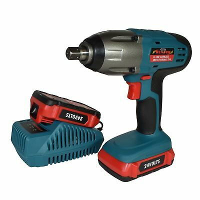 """24v LiIon Cordless Battery Impact Wrench Gun 1/2"""" Drive With 2 Twin Lithium Bat"""