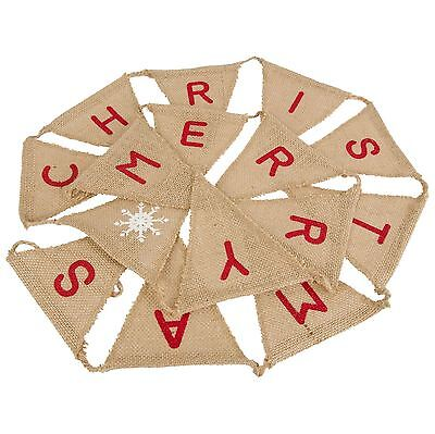 Rustic Hessian Merry Christmas Bunting Banner Flag Xmas Decoration