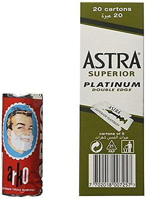 100 Astra Superior Platinum Double Edged Razor Blades + Free Arko Shaving Cream