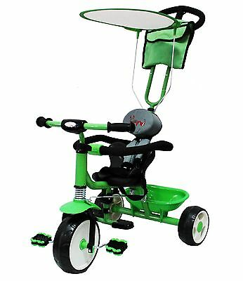 FoxHunter Kids Child Trike Tricycle 3 Wheel 4 In 1 Ride Bike Parent Handle Green