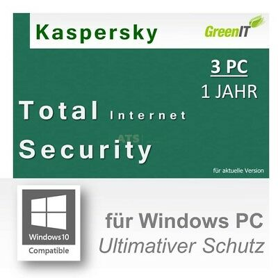 Kaspersky Total Internet Security for Windows GreenIT 3 PCs 1 Jahr Pure 2017