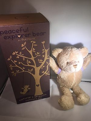 Partylite Peaceful Explorer Bear with Lavender Heart Backpack - NEW in box