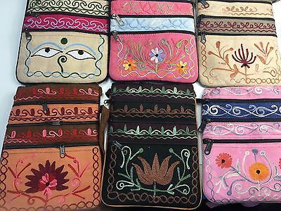 Job Lot of 12 PCS Hand Made in Nepal Messenger Bag Embroidery Crossover Patterns