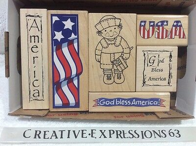 Lot Of 6 USA Themed Wood Mounted Rubber Stamps ExCondition