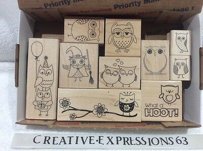 Lot Of 10 Owl Themed Wood Mounted Rubber Stamps ExCondition