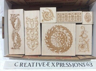 Lot Of 7 Anna Griffin Wood Mounted Rubber Stamps ExCondition