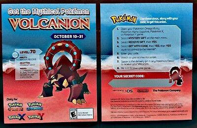 GameStop Event Mythical Volcanion Pokemon X Y OmegaRubyAlphaSapphire Card & Code