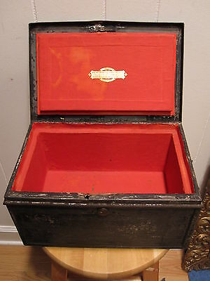 "Antique Fire Folk Art Safe Lock Box Bank Note Boston Wells Fargo "" Approved """