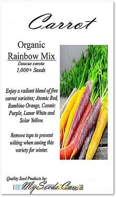 BIG PACK x Organic Rainbow Mix Carrot (1,000+) Seeds  Atomic Red, Bambino Orange