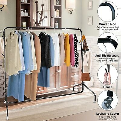 6 FT Clothes Rack Garment Display Lockable Rolling Metal Rail Hanger Dryer Stand