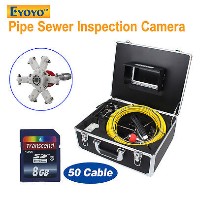 """8GB 50M Sewer 1000TVL Camera Pipe Pipeline Drain Inspection DVR System 7"""" Screen"""