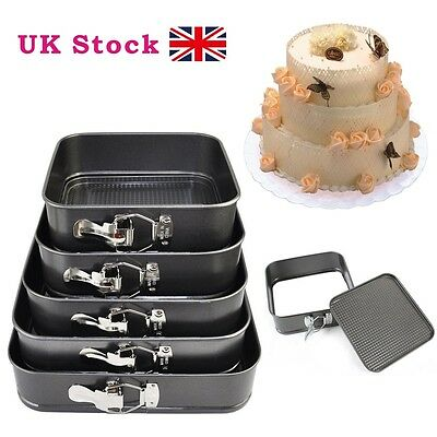 5 Non Stick Baking Springform Cake Tray Pan Bake Square Cake Tins Spring Form