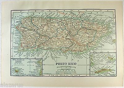Original 1914 Map of Porto Rico by L. L Poates
