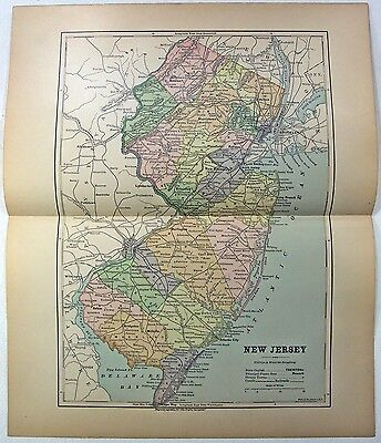 Original 1882 Map of New Jersey by Phillips & Hunt