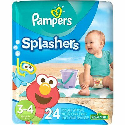 Pampers Splashers Swim Diapers Pants Sz 3-4 Disposable 24 cnt 16-34 lb SESAME ST