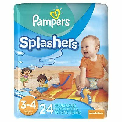 Pampers Splashers Swim Diapers Pants Sz 3-4 24 cnt 16-34 lb NICKELODEON