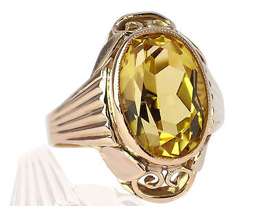 Art Deco Herren Damen 333 Gelb Gold 7 ct Sommer Citrin Ring antik