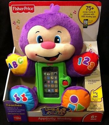 Fisher-Price Laugh and Learn Apptivity Monkey Baby Cell Phone Case Plush New