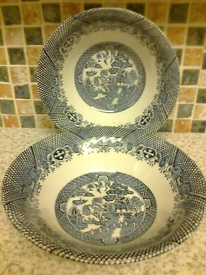 Barretts Willow Pattern Design 2 X Cereal/dessert Dishes Bowls