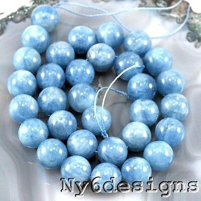 "* 12x12mm AAA+ Natural Blue Aquamarine Round Spacer Beads 15"" (AQ41)c"