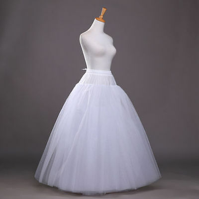 White Long Petticoat Crinoline Underskirt Slips Hoop Bridal Wedding Dress Skirt