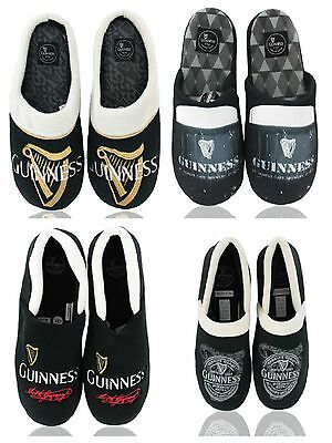 Mens Black Official Guinness Signature Limited Edition Slippers Uk Size 7-12