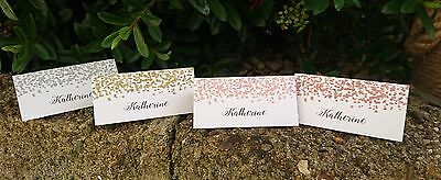 50 Personalised Confetti Glitter Wedding Table Place Name Setting Cards