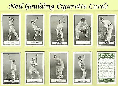 Gallaher - Famous Cricketers 1926 #1 to #100 Cricket Cigarette Cards