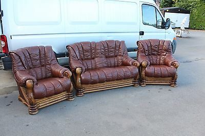 Large Good shaped Brown Leather Sofa and matching 2 Armchairs with Carved Frame