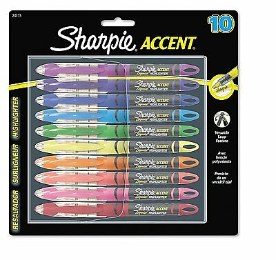 Sharpie Liquid Highlighters, Chisel Tip, Assorted Colors, 10 Pack