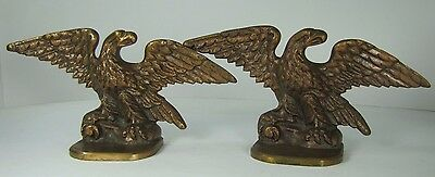 Old Brass Eagle Bookends detailed spread winged birds G.S. Design Copyright