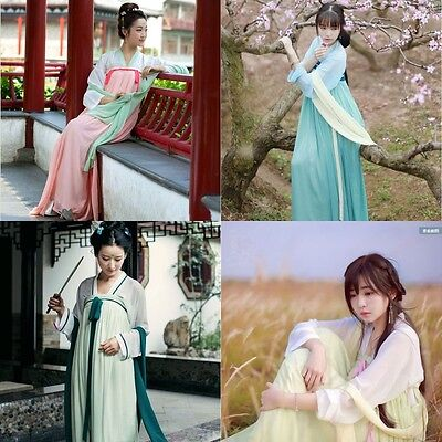 Chinese Ancient Style Women Cosplay Costume Chiffon Dress HAN Clothing S-2XL