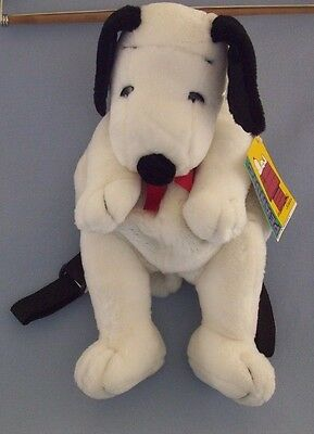 Snoopy Dog Backpack Bag Tote Peanuts White Adjustable Straps Zipper Bow New