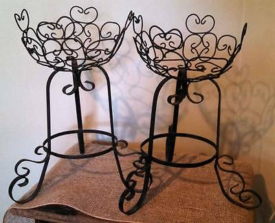 Vintage Shabby Chic Twisted Wire Basket Wrought Iron Plant Stand Pair
