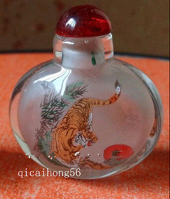Wonderful Inside Painting Chinese Eight Tiger Glass Snuff Bottle