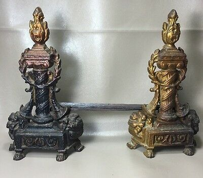 Antiq Art Deco Flame Face Fireplace Andirons Brass French Style Paw Feet Chenets