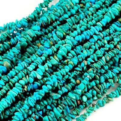 "2-4mm Small Natural Blue Hubei Turquoise Chips Beads 15"" (TU642)a"