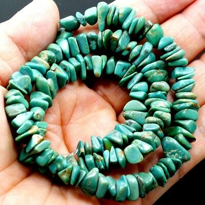 "6-10mm Natural Green Hubei Turquoise Nugget Beads 15"" (TU645)b"
