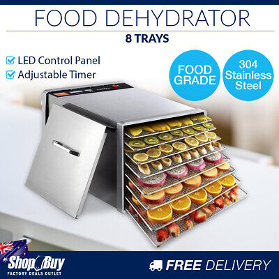 8 Trays Commercial Food Dehydrator Stainless Steel Jerky Dry Fruit Maker LED