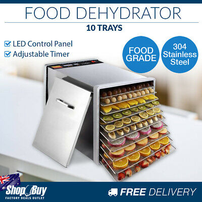 10 Trays Commercial Food Dehydrator Stainless Steel Jerky Dry Fruit Maker LED