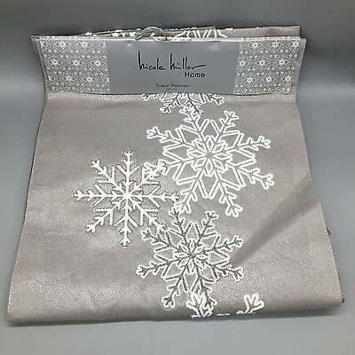 Nicole Miller Winter Table Runner Embroidered Snowflake Holiday Shimmer Silver