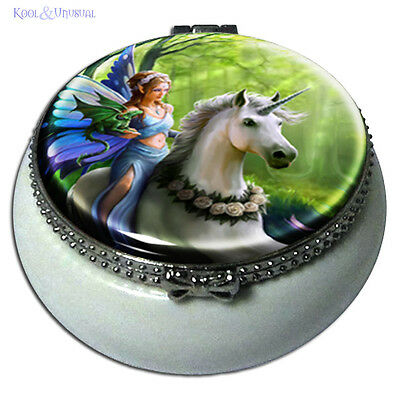 "Anne Stokes Small Trinket or Pill Box: ""Realm of Enchantment"" Unicorn Fairy"