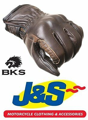 Bks 3315 Retro Mens Leather Motorcycle Glove Antique Brown Cafe Racer J&s