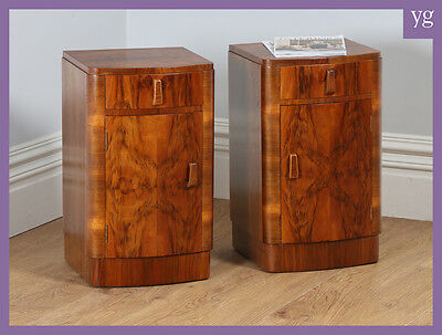 Antique Pair of Art Deco Walnut Bedside Cupboards Chests Cabinets Night Stands