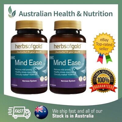2 x HERBS OF GOLD - ANXIETY EASE 60T - CLINICALLY TRIALLED & PROVEN + FREE POST