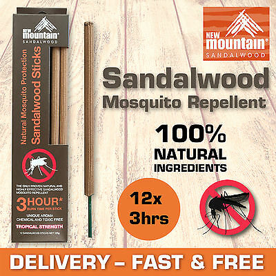 New Mountain® 100% Natural Mosquito Repellent 'Sandalwood Sticks' 3hrs x 12 pack