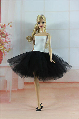 Handmade Ballet Dress with Black Lace Clothes For 11.5in.Doll H25
